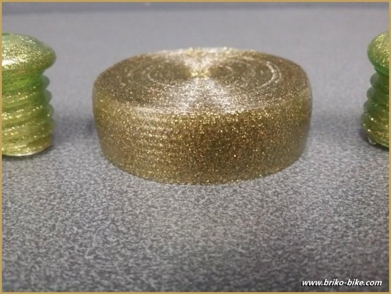 """Lenkerband """"Kunststoff"""" Grün Pailletten-GOLD (Ref 56)"""