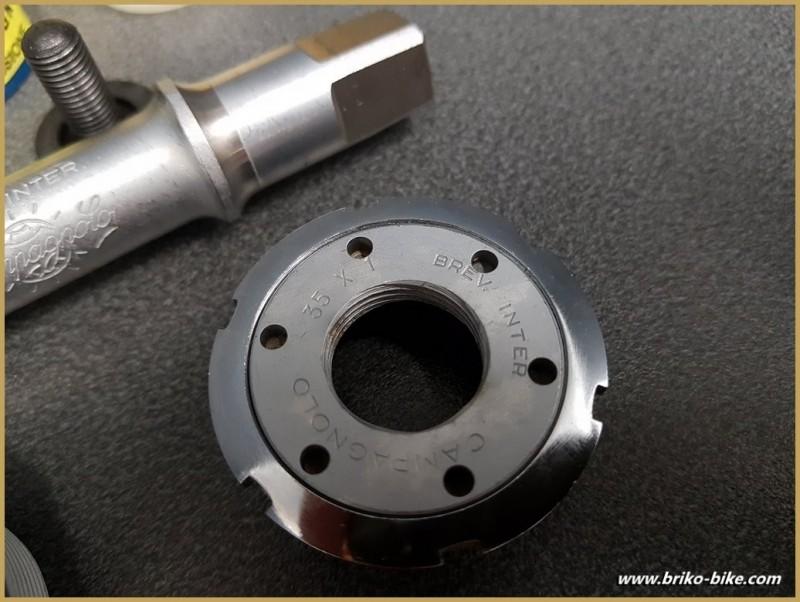 """Axe de pédalier NOS """"CAMPAGNOLO RECORD"""" 114.5 mm 35 x 1 (Ref 261)"""