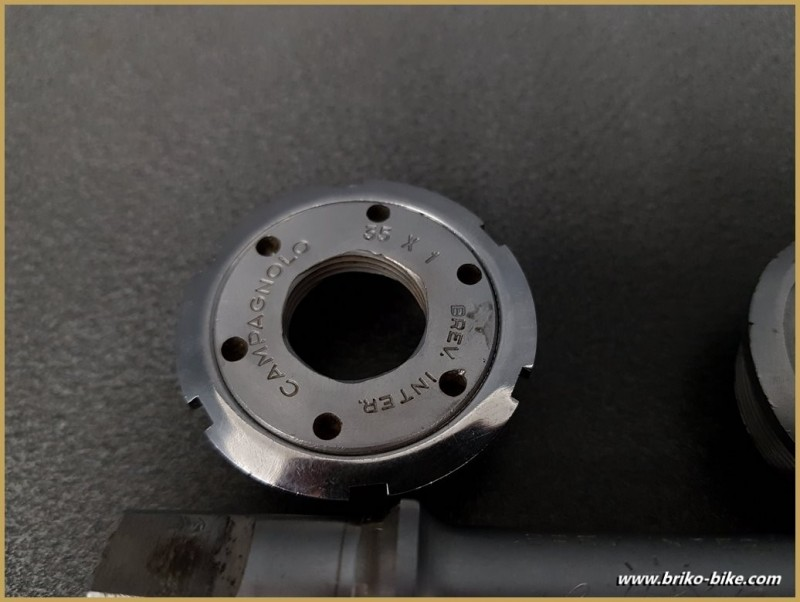 "Axe de pédalier ""CAMPAGNOLO SUPER RECORD"" 112 mm 35 x 1 (Ref 286)"