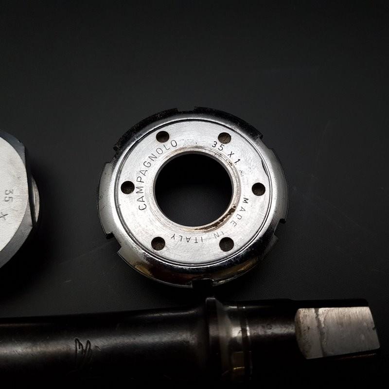 "Axe de pédalier ""CAMPAGNOLO GRAN SPORT"" 114 mm 35 x 1 (Ref 308)"