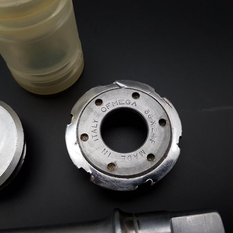 """Axe de pédalier """"OFMEGA COMPETIZIONE"""" 116.5 mm 36 x 24 (Ref 310)"""