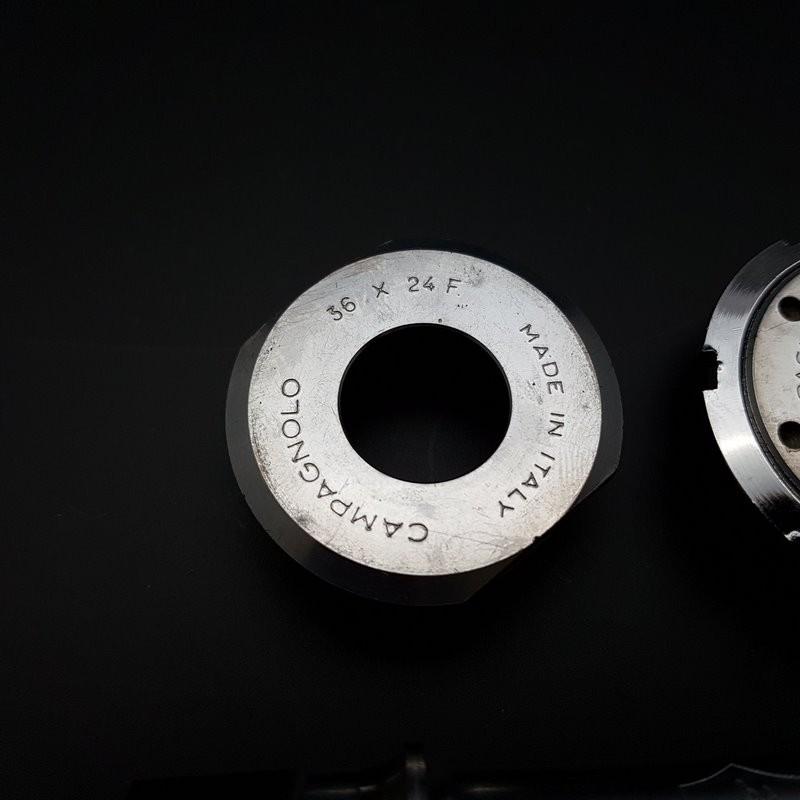 """Pedalier CAMPAGNOLO C-RECORD de PISTA"""" 109 mm 36 x 24 (Ref 311)"""