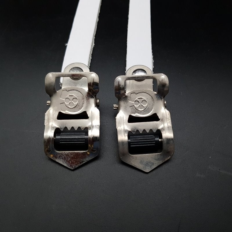 """copy of Straps """"CHRISTOPHE"""" leather white."""
