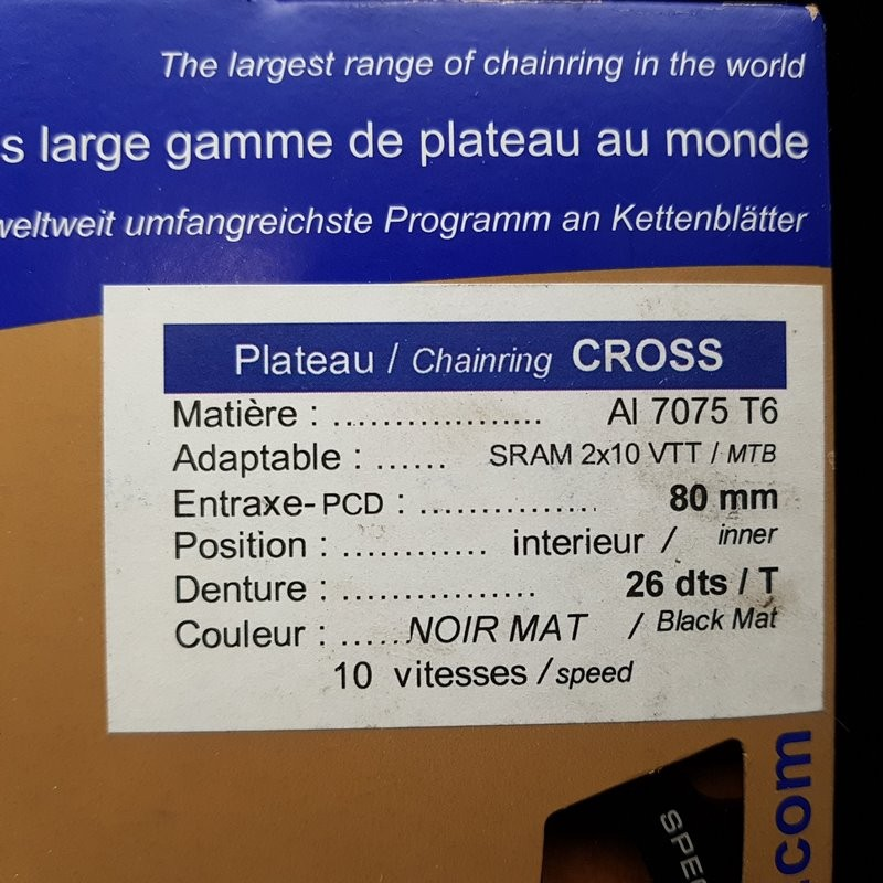"""Plateau OUR """"SPECIALIZATION YOUR CROSS"""" 26d BCD 80 (Ref 728)"""