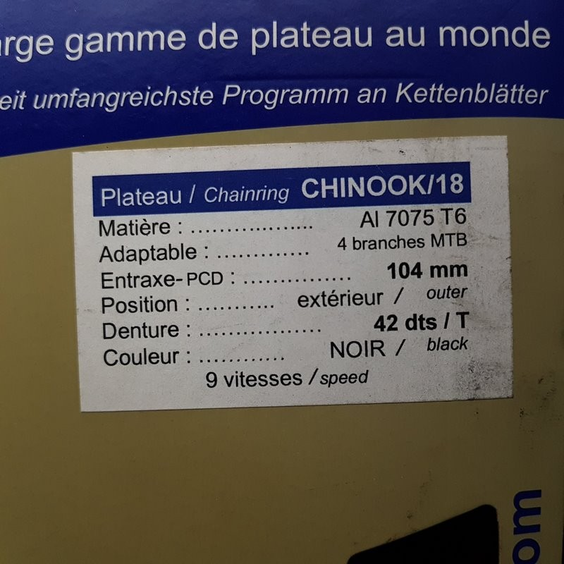 """Plateau OUR """"SPECIALITIES TA CHINOOK/18"""" 42d BCD 104(Ref 762)"""