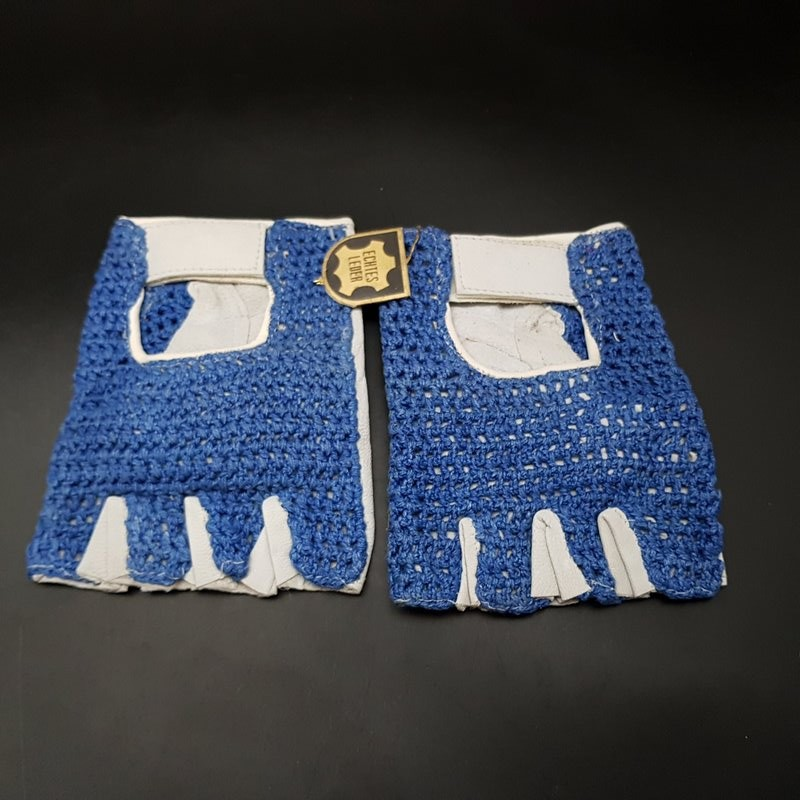 "Gloves Mittens vintage Blue ""SIZE L"" (Ref 01)"