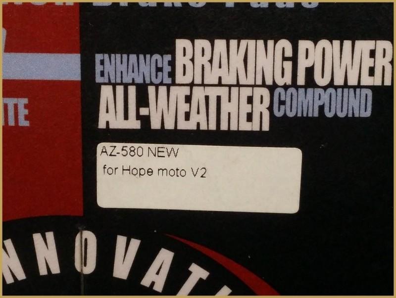 """Plaquettes de frein à disque """"HOPE MOTO V2"""" (Ref 39)"""