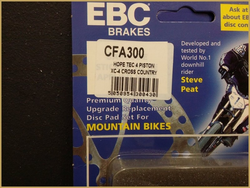 "Disc brake pads HOPE XC 4 PISTON GREEN"" (Ref 68)"